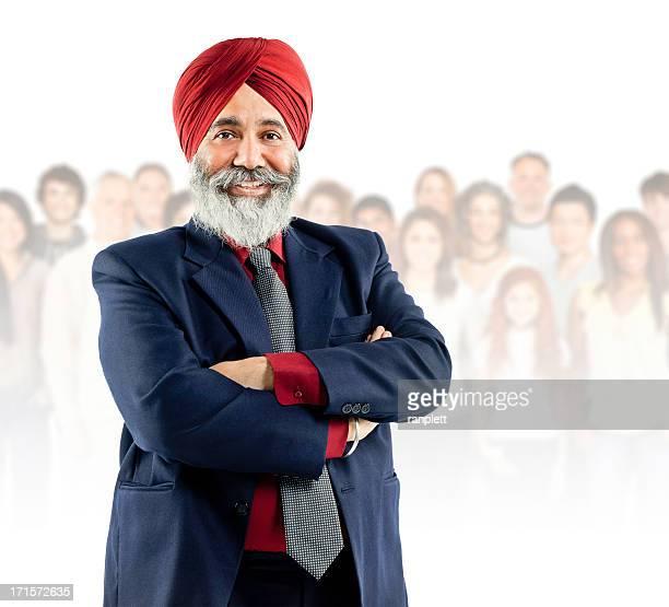 Communauté mondiale: Senior homme souriant Sikh