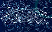 Global cyber futuristic financial network security concept. Fast speed internet connection. Block chain network. Blue and white connected dots on dark background