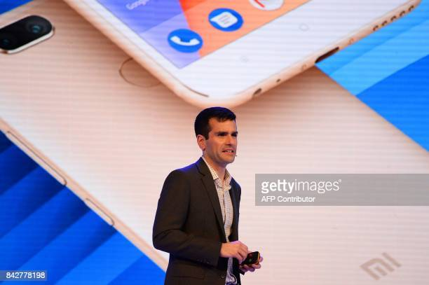 Global director of Android partner programs Jon Gold speaks during the launch of the Xiaomi Mi A1 smartphone in New Delhi on September 5 2017 Chinese...