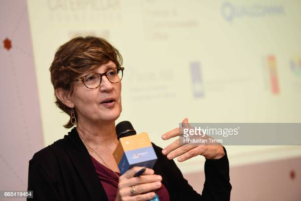 Global Director Water World Resources Institute Betsy Otto speaks during Connect Karo organized by WRI India at India Habitat Centre on April 6 2017...