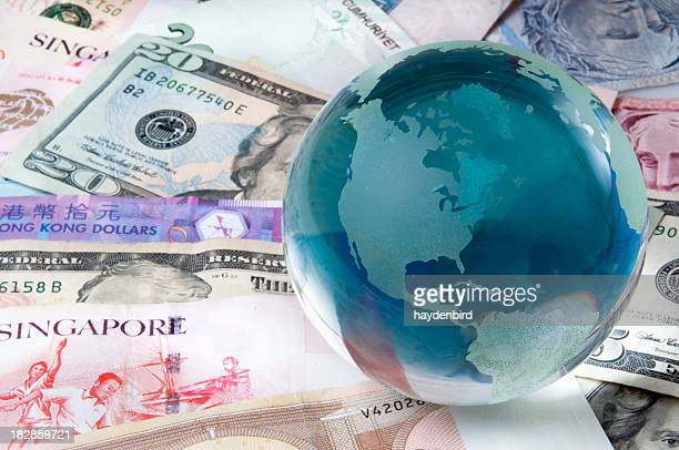Global Finance and Banking world bank notes and globe