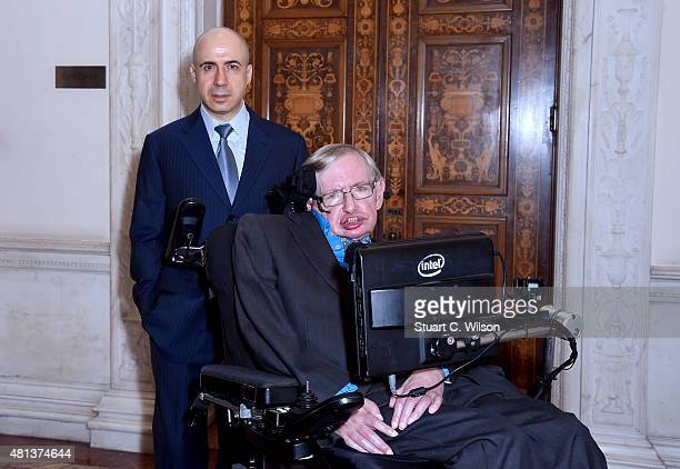 Global Founder Yuri Milner and Theoretical Physicist Stephen Hawking ahead of a press conference on the Breakthrough Life in the Universe Initiatives...
