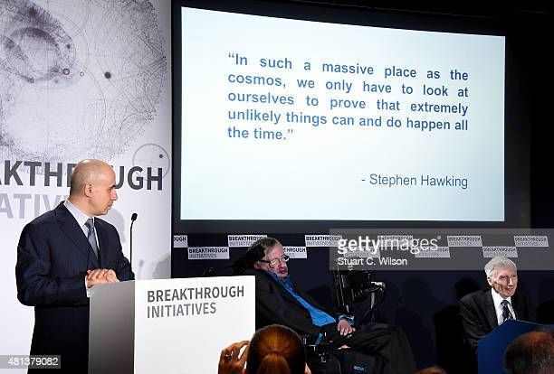 DST Global Founder Yuri Milner Theoretical Physicist Stephen Hawking and Cosmologist and astrophysicist Lord Martin Rees attend a press conference on...