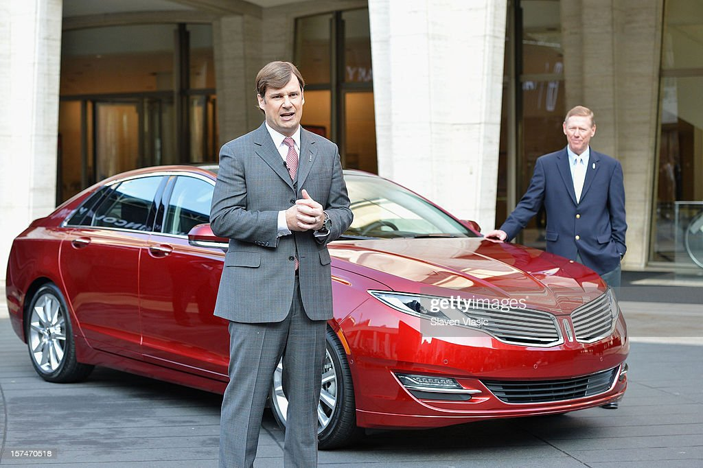 Global Head of Lincoln Motor Company Jim Farley and President and CEO of Ford Motor Company <a gi-track='captionPersonalityLinkClicked' href=/galleries/search?phrase=Alan+Mulally+-+Businessman&family=editorial&specificpeople=226958 ng-click='$event.stopPropagation()'>Alan Mulally</a> attend Ford Lincoln unveiling the new brand direction Lincoln with Emmitt Smith at Lincoln Center on December 3, 2012 in New York City.