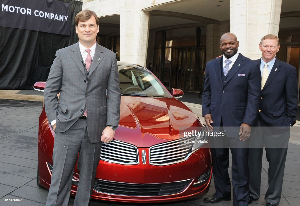 Global Head of Lincoln Motor Company Jim Farley, Lincoln Motor Company Ambassador <a gi-track='captionPersonalityLinkClicked' href=/galleries/search?phrase=Emmitt+Smith&family=editorial&specificpeople=201615 ng-click='$event.stopPropagation()'>Emmitt Smith</a> and President and CEO of Ford Motor Company <a gi-track='captionPersonalityLinkClicked' href=/galleries/search?phrase=Alan+Mulally+-+Businessman&family=editorial&specificpeople=226958 ng-click='$event.stopPropagation()'>Alan Mulally</a> attend Ford Lincoln unveiling the new brand direction Lincoln with <a gi-track='captionPersonalityLinkClicked' href=/galleries/search?phrase=Emmitt+Smith&family=editorial&specificpeople=201615 ng-click='$event.stopPropagation()'>Emmitt Smith</a> at Lincoln Center on December 3, 2012 in New York City.