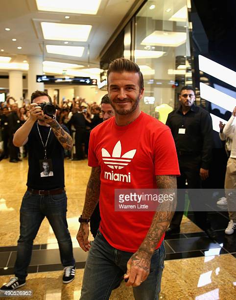 Global icon and footballing legend David Beckham arrives to open the new adidas HomeCourt concept store in the Mall of Emirates Dubai to the delight...