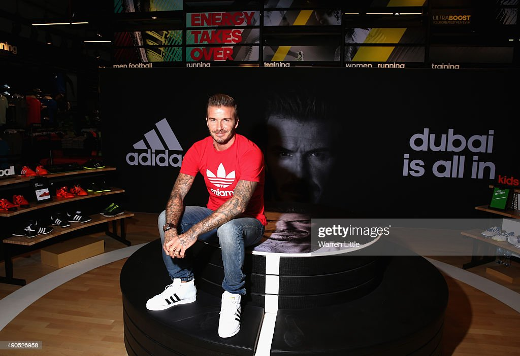 Global icon and footballing legend David Beckham today opened the new adidas HomeCourt concept store in the Mall of Emirates, Dubai to the delight of thousands of fans who caught a glimpse of the sporting superstar during a whistle-stop visit to the United Arab Emirates on September 29, 2015 in Dubai, United Arab Emirates.