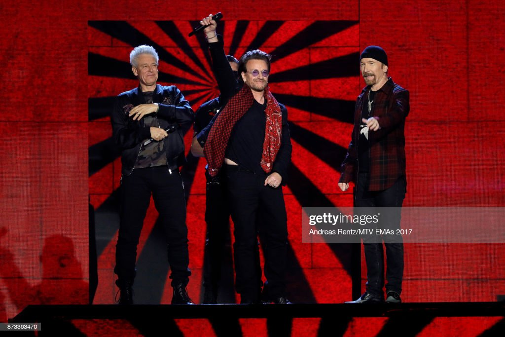 Global Icon award winners Adam Clayton, Larry Mullen Jr, Bono and The Edge of U2 are seen on stage during the MTV EMAs 2017 held at The SSE Arena, Wembley on November 12, 2017 in London, England.