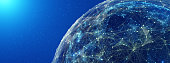 Connection lines Around Earth Globe, Futuristic Technology  Theme Background with Light Effect, 3D illustration