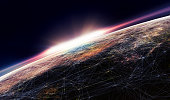 3D illustration. Connection lines Around Earth Globe, Futuristic Technology  Theme Background with Light Effect.