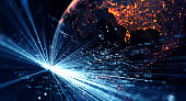 Connection lines Around Earth Globe, Motion of digital data flow. Futuristic Technology Theme Background with Light Effect. 3D Rendering