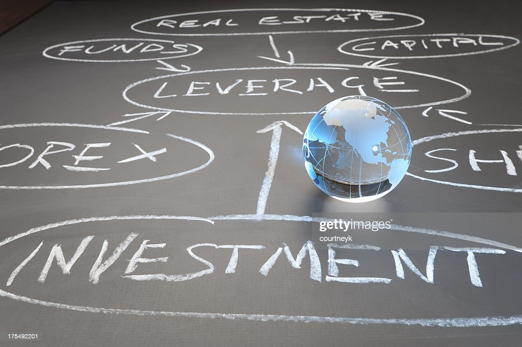 Global investment flow chart concept
