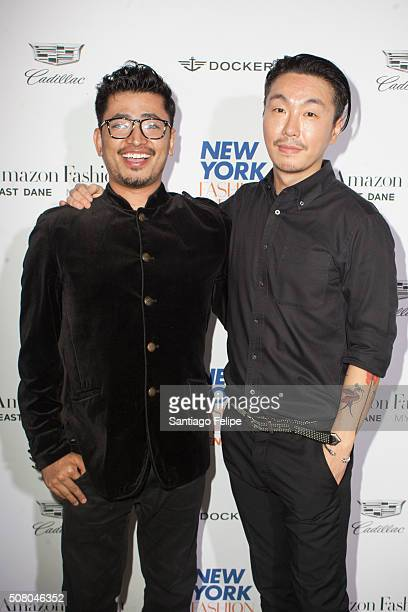 Global luxury brand ambassador Pritan Ambroase and General Idea designer Choi BumSuk pose backstage at the General Idea fashion show during New York...
