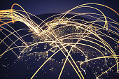 World at night with abstract network lines.