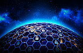A grid of cells with a lock symbol in some of them  around the Earth globe on deep blue space background