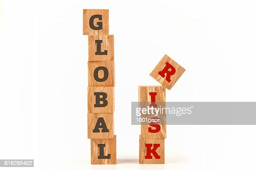 Global Risk word written on cube shape : Stock Photo