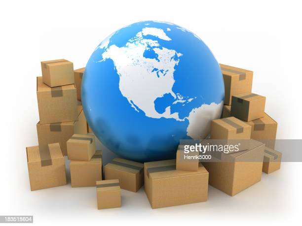 Global shipping: Earth surrounded by boxes, isolated w. clipping path