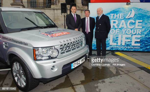 Global Sponsorship Manager for Land Rover Ed Tilston Sports Minister Hugh Robertson and Sir Robin KnoxJohnston at a launch event for the yacht 'Great...