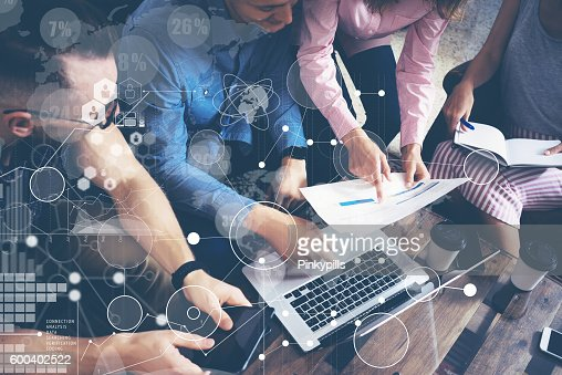 Global Strategy Connection Data Virtual Icon Innovation Graph Interface.Startup : Stock Photo
