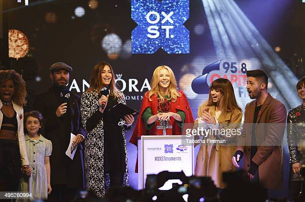 Global Superstar Kylie Minogue Lights up Oxford Street at Pandora Switch On with Fleur East Evie Hone Dave Berry Lisa Snowdon Kylie Minogue Foxes Ben...