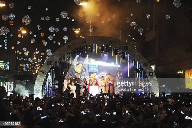 Global Superstar Kylie Minogue Lights up Oxford Street at Pandora Switch On with Fleur East Evie Hone Dave Berry Lisa Snowdon Foxes and Gabrielle...