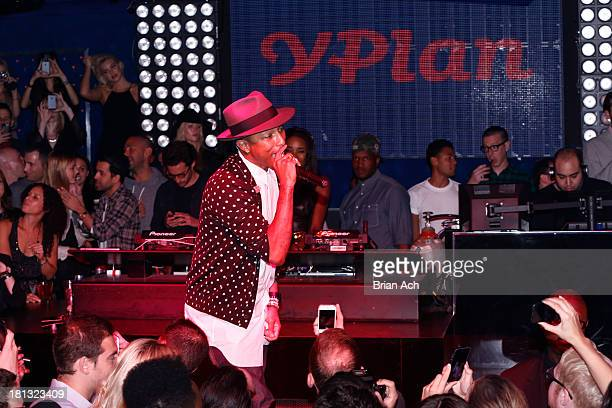 Global superstar Pharrell Williams performs at NY launch of YPlan tonight's going out app at FINALE on September 19 2013 in New York City