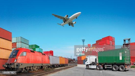 Global travel via cargo train, container ship, air