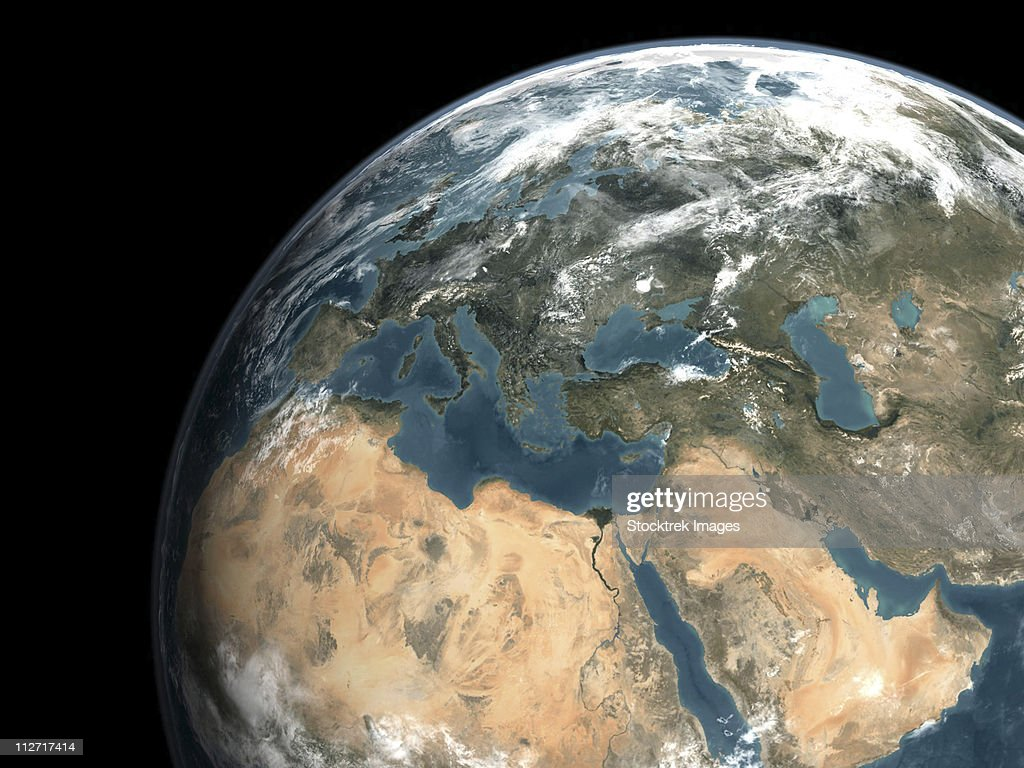Global view of earth over Europe, Middle East, and northern Africa.