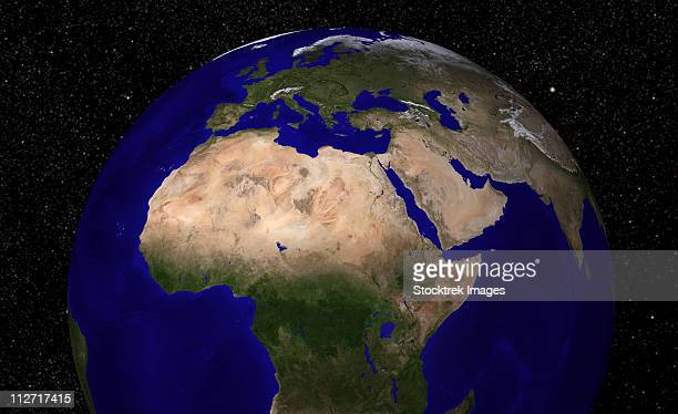 Global view of Earth over North Africa, Europe, the Middle East, and India.