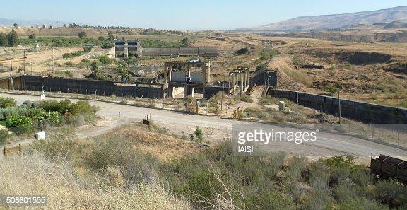 Global view, the Jordan-Israel border at Naharayim : Stock Photo