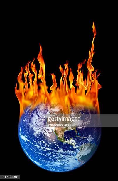 global warming metaphor burning world