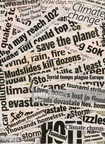 Global warming related collage of newspaper headlines
