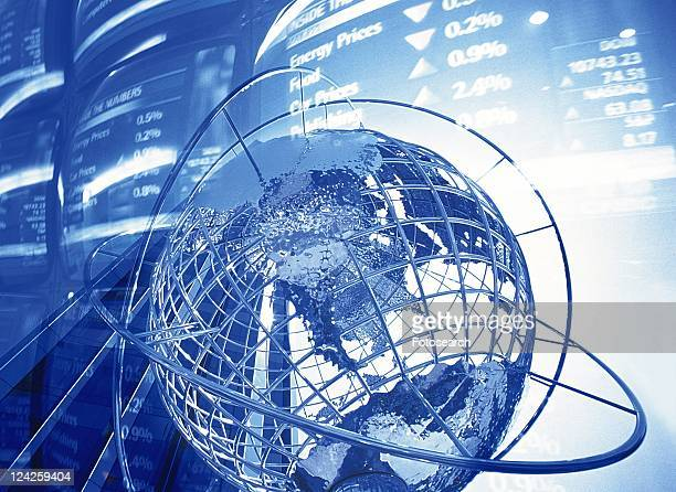 Globe and image of stock market, CG, composition, toned image