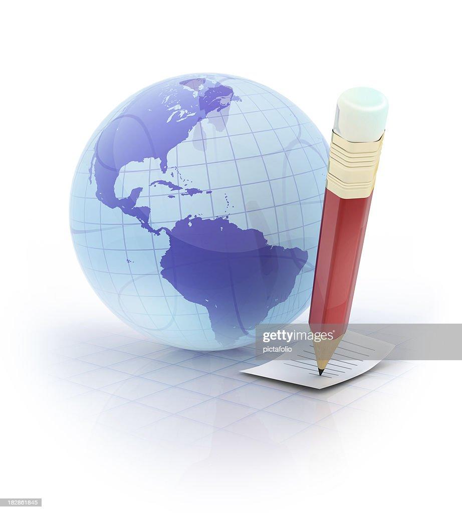 globe and pencil : Stock Photo