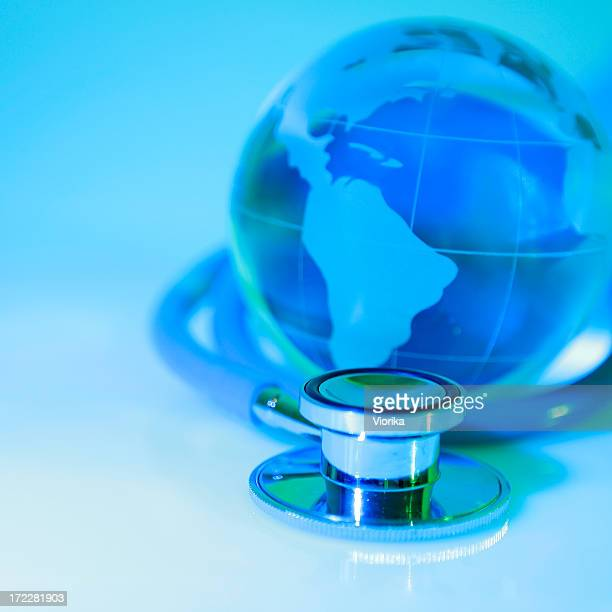 Globe and stethoscope to convey global healthcare concept
