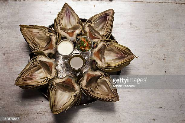 Globe artichoke with dips