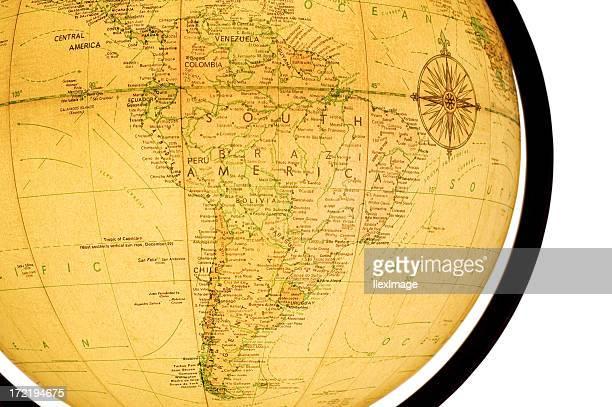 Globe primer plano: América del Sur