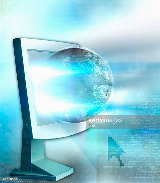 Globe Emerging from Computer Monitor