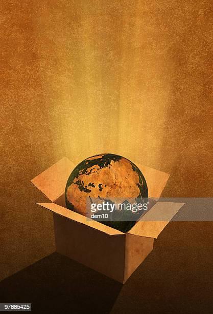 Globus In einer Box (Europa und Asien