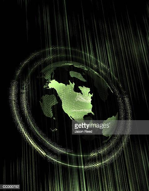 Globe Inset Within a Fingerprint Composite