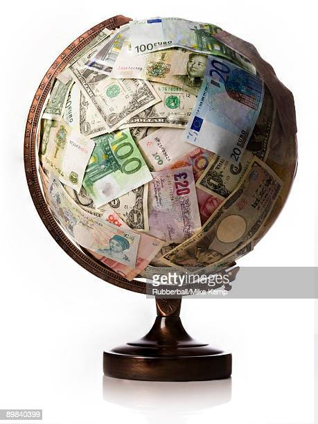 globe made of currency