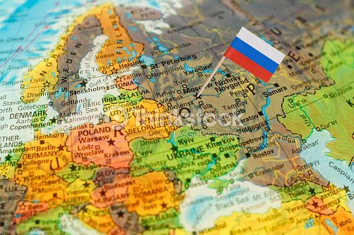 Globe map detail russia with russian flag stock photo thinkstock globe map detail russia with russian flag stock photo gumiabroncs Images