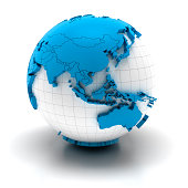 'Globe of asia with national borders, two clipping paths provided'