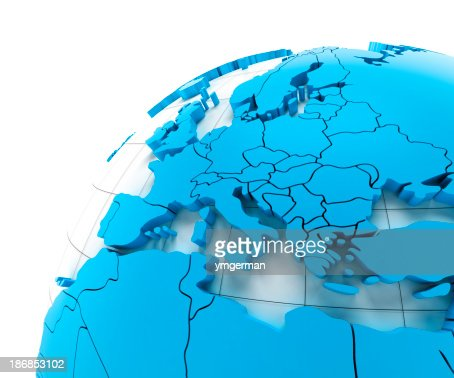 'Globe of Europe with national borders, three clipping paths prov'