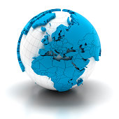 'Globe of Europe with national borders, two clipping paths provid'