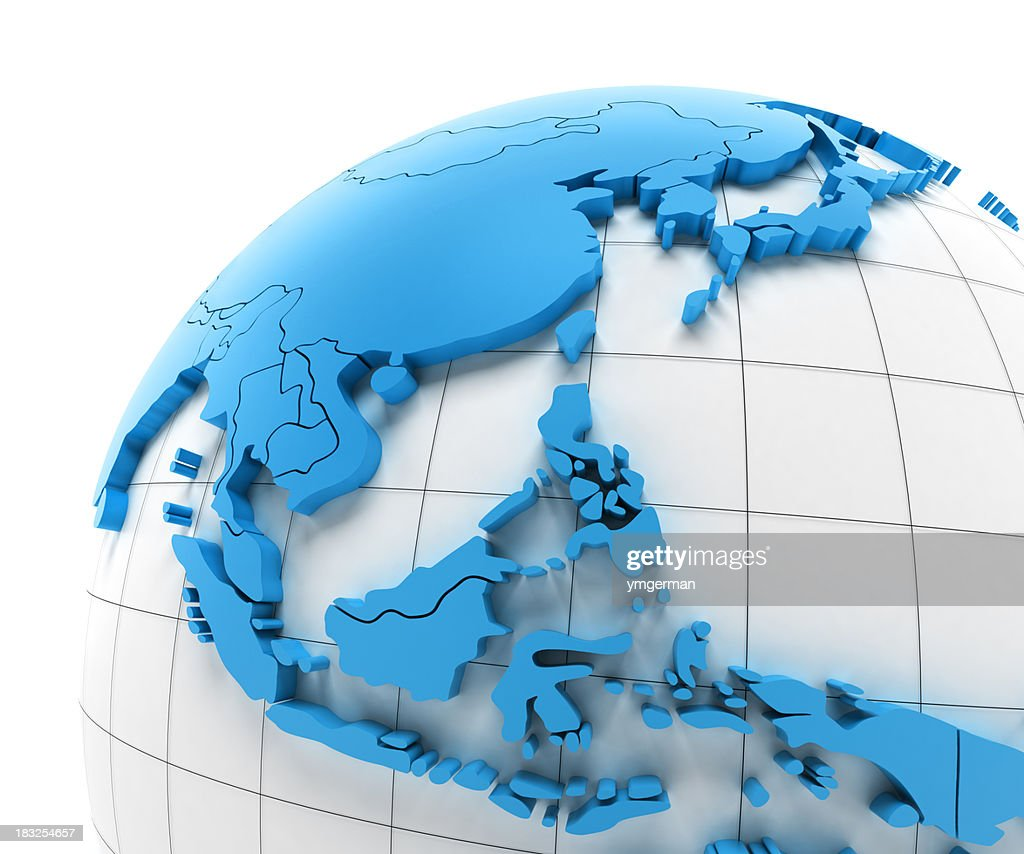 'Globe of Southeast Asia with national borders, clipping paths pr'