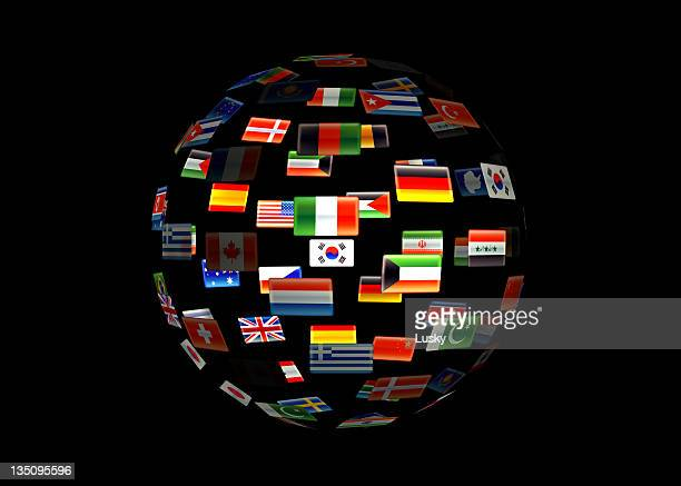 A globe of the earth made out of flags