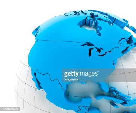 'Globe of USA with national borders, two clipping paths provided'