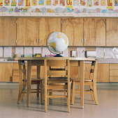 Globe on table in classroom