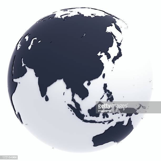 Globe Series: Silver II - Eastern Asia (with Clipping Path)